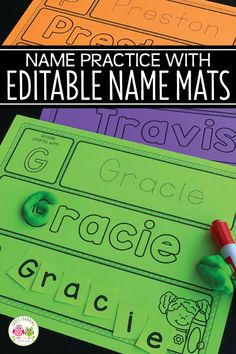 There are so many ways that your kids can work on name practice with these editable name activity mats. You will love these multi-sensory name activities. Kindergarten Name Activities, Preschool Names, Preschool Literacy, Back To School Activities, Preschool Lessons, Sensory Activities, Back To School For Preschoolers, Preschool Name Recognition, Back To School Crafts For Kids
