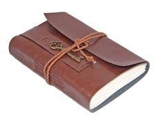 Light Brown Vegan Faux Leather Journal with Key Bookmark - Ready To Ship -