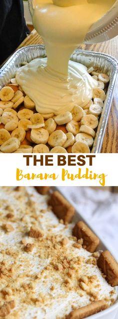 The Best Banana Pudding Ever #Banana #Sweet Best Banana Pudding, Best Bread Pudding Recipe, Banana Pudding Desserts, Easy Pudding Recipes, Chocolate Pudding Cake, Banana Pie, Chocolate Cookie Recipes, Chocolate Desserts, Cookie Desserts