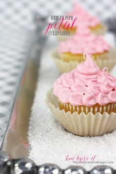 How To Pipe Pretty Petal Cupcakes - perfect for birthda parties, bridal showers, baby showers or any fun Spring Party! | @kimbyers TheCelebrationShoppe.com