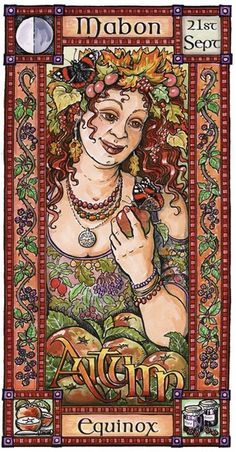 The Goddess and the Green Man~Mabon ~Autumn Equinox Mabon, Samhain, Yule, Pagan Art, Pagan Witch, Witches, Green Man, Beltaine, Pagan Festivals
