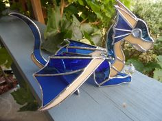 Stained Glass 3-D Blue Dragon, at Jitter Beans Mineral Wells, Texas