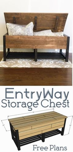 DIY entryway storage chestThanks anawhitediy for this post.This DIY entryway storage chest is the perfect project for your home entryway. The hidden storage gives it the perfect balance of functionality and decorative. Giving entryway storage# Chest Diy Wood Projects, Diy Entryway Storage, Chest Woodworking Plans, Home Furniture, Chests Diy, Furniture Plans, Home Decor, Furniture Projects, Diy Plans