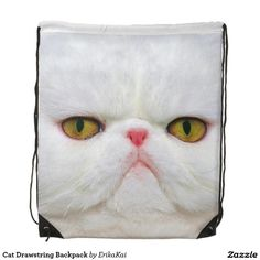 """White Cat Drawstring Backpack. 100% polyester. Dimensions: 14.75"""" x 17.3""""."""