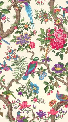 Fontainebleau Wallpaper A wonderfully exuberant 'tree of life' design wallpaper, inspired by the Palace of Fontainebleau outside Paris. Comprising leafy stems upon which are perched a flock of exotic and colourful birds on a light cream background.