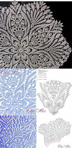 Crochet Doily Diagram, Crochet Lace Edging, Crochet Doily Patterns, Crochet Chart, Crochet Squares, Thread Crochet, Knit Crochet, Filet Crochet, Crochet Home