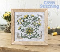 Folk-art florals – cross stitch. Add a country rustic touch to your home - find the chart only in the new issue 231 of The World of Cross Stitching magazine
