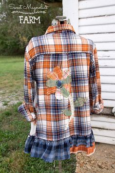 Upcycled Women's Flannel Shirt Tunic    **saved for (rough-) flower applique -- with OR w/o 'ruffle @ bottom!
