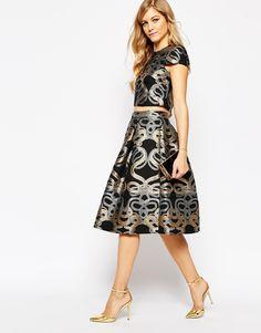 Image 1 ofTed Baker Primmy Snake Jacquard Full Skirt