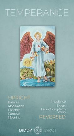 Temperance Tarot Meaning Click to learn more about this card! temperance card, temperance tarot card, temperance reversed, temperance card reversed