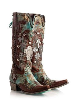 Double D Ranch Women's Turquoise Ammunition Cowgirl Boots. **Dear Santa, I've been a REALLY good girl this year...