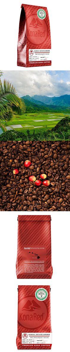 KonaRed Premium Hawaiian Kona Blend Coffee, Dark Roast, Ground, One Pound Bag Kona Coffee, One Pound, Ground Coffee, Dark Roast, Blended Coffee, Hawaiian, The 100, Medium, Bag