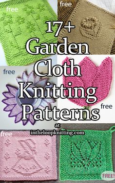 Knitting Patterns for flower and other garden inspired blocks for dish and wash . : Knitting Patterns for flower and other garden inspired blocks for dish and wash cloths or other knitting projects. Most patterns are free. Knitted Dishcloth Patterns Free, Knitted Washcloths, Crochet Dishcloths, Knitted Blankets, Knitting Patterns Free, Knit Patterns, Free Knitting, Finger Knitting, Knitting Videos