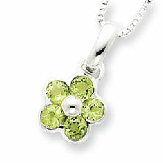 Sterling Silver Peridot Flower Pendant and Box Chain 16 inch Necklace Gunther Gifts. $48.35
