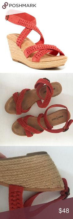 """Minnetonka Haley Red Leather Wedge Braided Sandals Gently pre-loved with just some very minimal wear. Please see all pictures for an accurate description of condition. Approx. 3"""" Heel. Comes in original box. *0520170500* Minnetonka Shoes Wedges"""