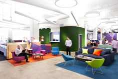 "I love the bold and vivid colors in the open office area.  The interactions people have will have a different tone in this space than in a conference room - more conversational, more like sitting around a sofa at home discussing important matters.  I've seen employees who are normally very quiet in meetings open up when placed in a more ""living room"" type of environment.  @ LivePerson headquarters, New York"