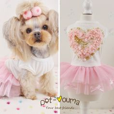 Kawaii Pet Shop Cotton Pearl Phnom Penh Dog Dresses Love Dog Clothes Clothes for Dogs Maltese Yorkie Chiwawa 16ZF14 // Worldwide FREE Shipping // #dogs