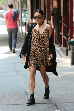 Vanessa Hudgens.. One X Oneteaspoon Ford Society Dress, Orka Mesica Leslie Bag, Komono Dreyfuss Sunglasses, and AllSaints Pierced Boots..