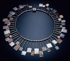 Necklace | Arline Fisch.  Squares - silver, brass and copper.  1962.
