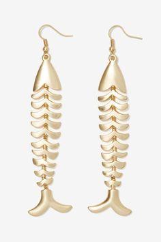 """Fun """"Take the Bait"""" Metallic Earrings"""
