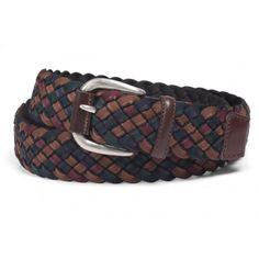 Cinturón de piel marrón oscuro trenzado y elástico en colores marrón, azul marino y burdeos - SOLOiO