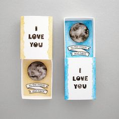 I love you to the moon and back matchbox card ❤  {find them in the shop, link in bio}