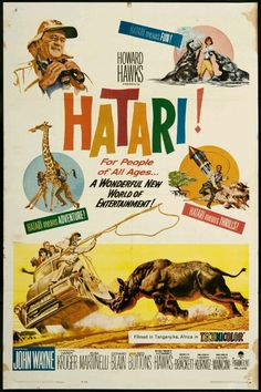 1962 - HATARI! - directed by Howard Hawks, starring John Wayne, Red Buttons, Elsa Martinelli, and Hardy Krüger