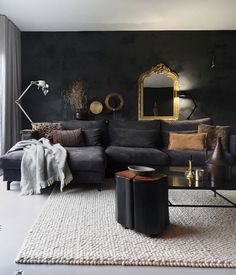 Modern living room by martje overmeer interiors modern Charcoal Living Rooms, Dark Living Rooms, Living Room Grey, Home Living Room, Living Room Designs, Living Room Decor, European Home Decor, Home And Deco, Interior Design