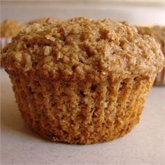 Applesauce Oat Bran Muffins (added one chopped apple; cinnamon; try w 1/4 cup more brown sugar or a couple tablespoons of honey)