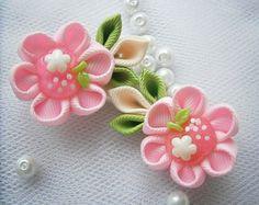 Handmade Kanzashi girls toddler baby hair by MARIASFLOWERPOWER