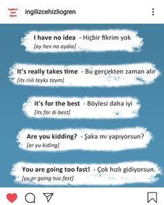 English Words, English Grammar, English Language, Turkish Lessons, Learn Turkish Language, Always Learning, Idioms, Learning Spanish, Learn English