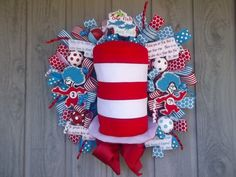 Dr Seuss Cat in the Hat wreath by reademandwreath on Etsy, $195.00