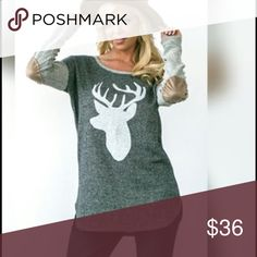 ‼️🎉 Gray Tunic with Deer Head/Antler Print 🎉‼️ ‼️🎉 NWT Adorable cozy gray tunic with deer head-antler decal print. Brown elbow patches. I love this top! Size  small. This brand does runs big. Tops Tunics