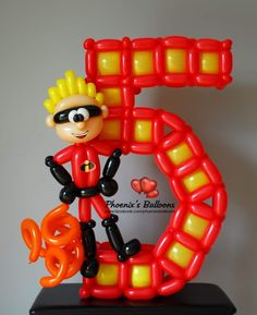 Balloon Centerpieces, Balloon Decorations, Beauty And The Best, Number Balloons, Balloon Animals, Boy Decor, Letters And Numbers, Toys For Boys, Cartoon Characters