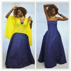 One Size Ankara African Print Bustier Maxi Dress by UtterLadyness