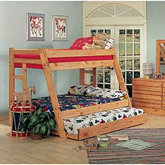Ponderosa Pine Twin Over Full-size Bunk Bed With Trundle