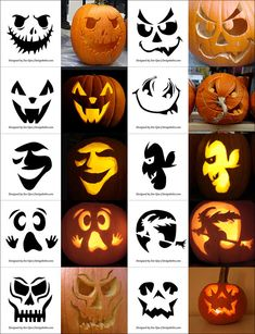 Free Printable Halloween Pumpkin Carving Stencils, Patterns, Designs, Faces & Ideas F. Printable Pumpkin Stencils, Halloween Pumpkin Carving Stencils, Scary Halloween Pumpkins, Pumpkin Carving Templates, Easy Pumpkin Stencils, Printable Halloween, Halloween Tags, Halloween Designs, Halloween Patterns