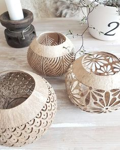 Creative Food Art Kugel Clay Bowl Play Clay Clay Creations Diy Projects To Try Ceramic Art Concrete Polymer Clay Ceramic Pottery, Ceramic Art, Ceramic Lantern, Home Crafts, Diy And Crafts, Decorative Items, Decorative Bowls, Coconut Shell Crafts, Dremel Projects