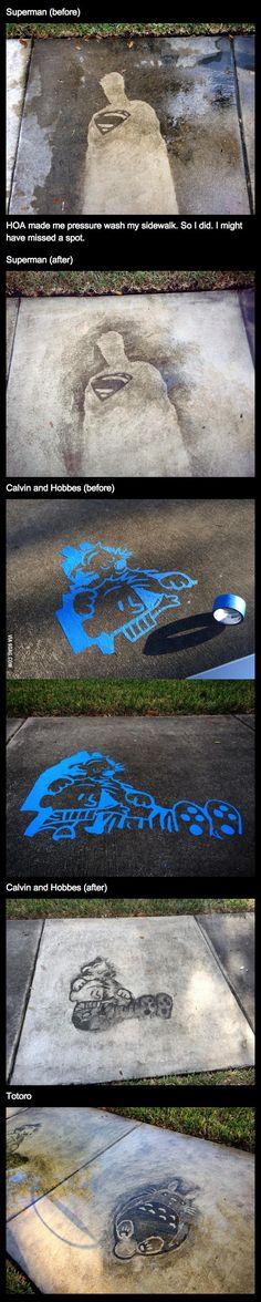 Comics drawn on a sidewalk with a pressure washer