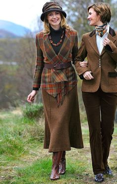 Long fluted tweed skirt ~ by House of Bruar. shawl jacket, and cuff detail on brown blazer