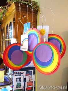 Rainbow circles! and Earth Day vocab cards!!! How about one of these mobiles (change for every theme) above each table in Kindergarten! - Re-pinned by @PediaStaff – Please Visit http://ht.ly/63sNt for all our pediatric therapy pins