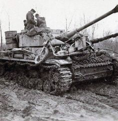 """Panzer IV tank, carrying a """"spare"""" motorcycle...."""