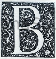 INSTANT DOWNLOAD French Letter B  Illuminated Lettering Ornate Very Hi Res 600 dpi Image Download