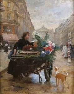 Marchande De Fleurs, Avenue De L'opera by Louis de Schryver
