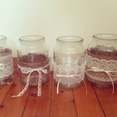 Hessian lace jars wedding decoration rustic DIY