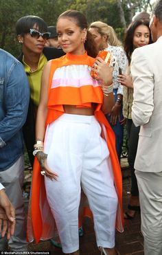 Top of the crops! Rihanna stepped out for Roc Nation's exclusive pre-Grammy brunch on Saturday in Los Angeles