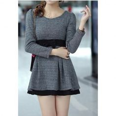 Sweet Scoop Neck Bow Puff Sleeve Women's Dress