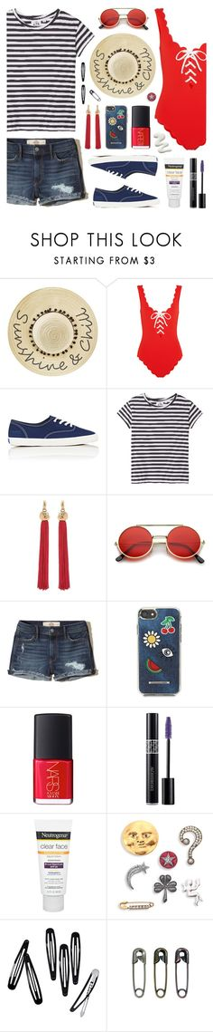 """Sunshine Weekend"" by lgb321 ❤ liked on Polyvore featuring Betsey Johnson, Marysia Swim, Keds, Cheap Monday, Yves Saint Laurent, ZeroUV, Hollister Co., Rebecca Minkoff, NARS Cosmetics and Christian Dior"