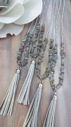 Long beaded grey tas Long beaded grey tassel necklace. Long by AllAboutEveCreations