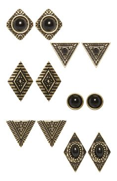 6 Pack Triangle Studs Earrings